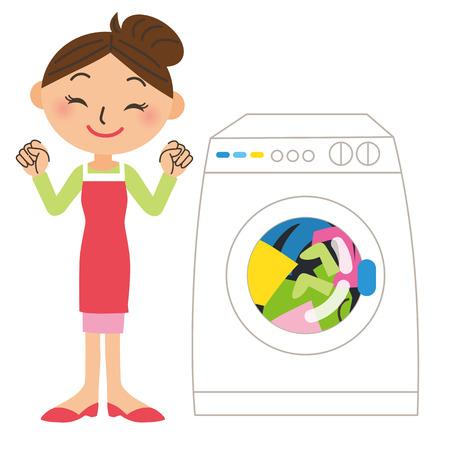 洗濯機を回す主婦  イラスト・ベクター素材