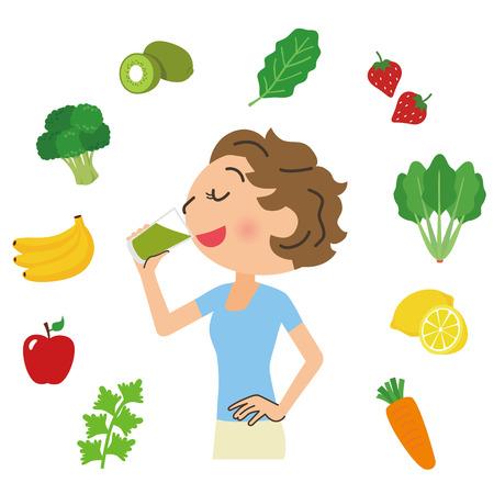 légumes verts: femme qui boit la soupe verte