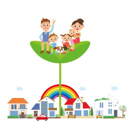 convivencia familiar: familia que pone en la hoja Vectores