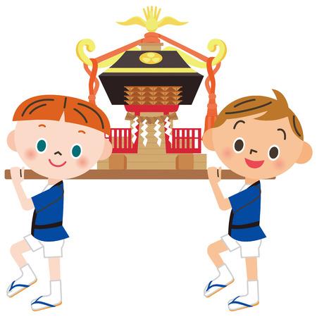 子供の神輿  イラスト・ベクター素材