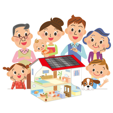 buy house: layout of three-generation in a family Illustration