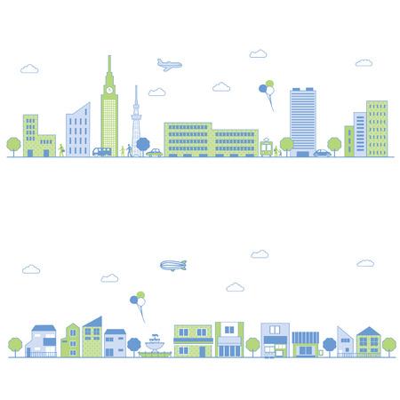 apartment buildings: Cityscape Illustration