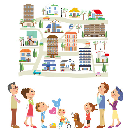 family house: look for an article in three-generation family Illustration