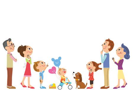 drie-generatie familie die omhoog kijkt naar de top Stock Illustratie