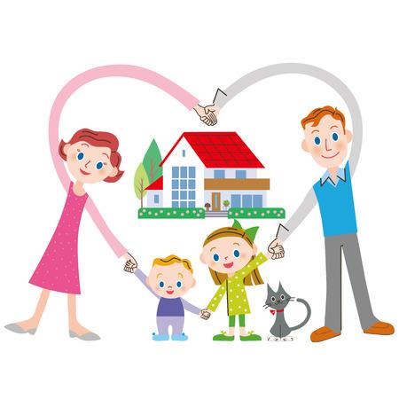 alegria: familia felicidad y la familia que hacen que el corazón Vectores