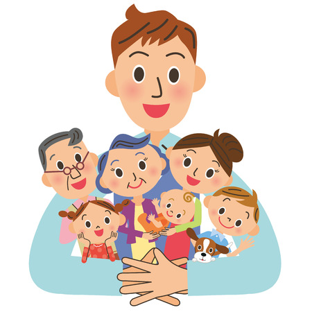 one parent: Father hugging a family Illustration