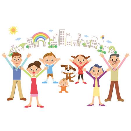 Gelukkige familie en stadsbeeld
