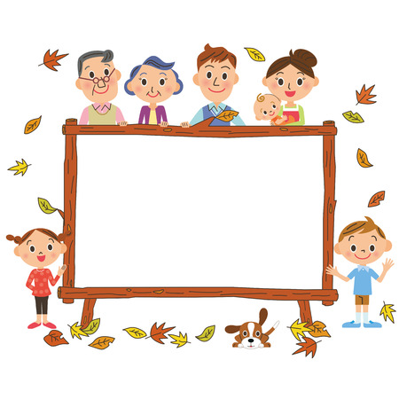 three generations: Autumn frame and family