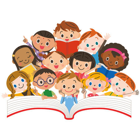 Reading children  イラスト・ベクター素材