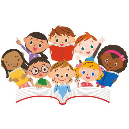 kinderschoenen: Lezende kinderen Stock Illustratie