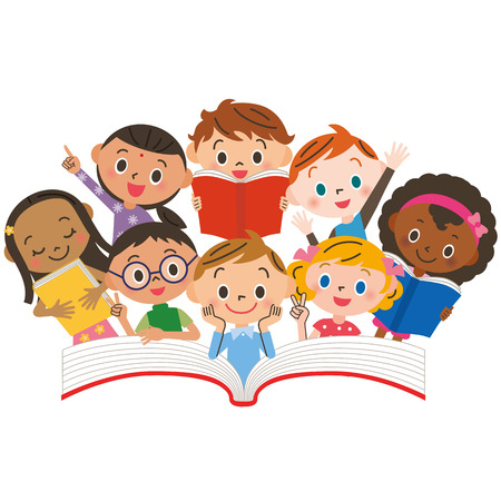 school book: Reading children Illustration