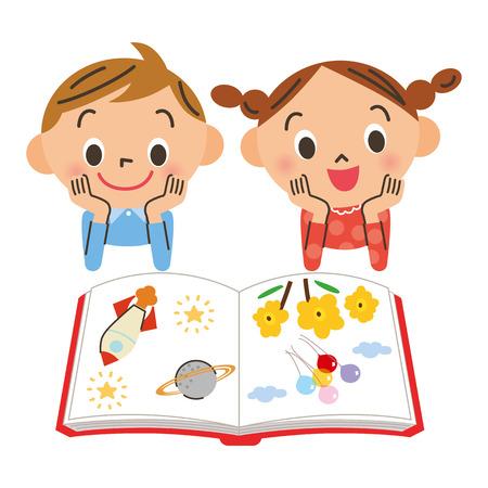 Dzieci: Dziecko, aby zobaczyć książkę Ilustracja