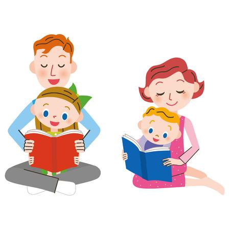 personas leyendo: Padre e hijo que leen un libro