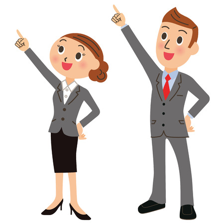 Office worker of the man and woman to a point with a smile, and to work as Vectores