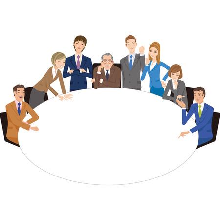 kantoormedewerker die een ontmoeting met een ronde tafel houdt