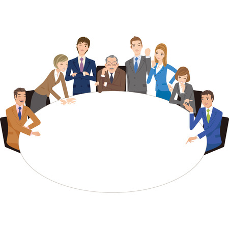 round table: office worker who holds a meeting with a round table