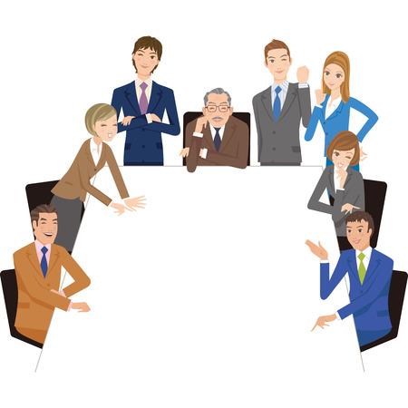 사각형 테이블에 회의를 보유 회사원