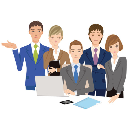 office worker: office worker gathers and looks at the PC Illustration