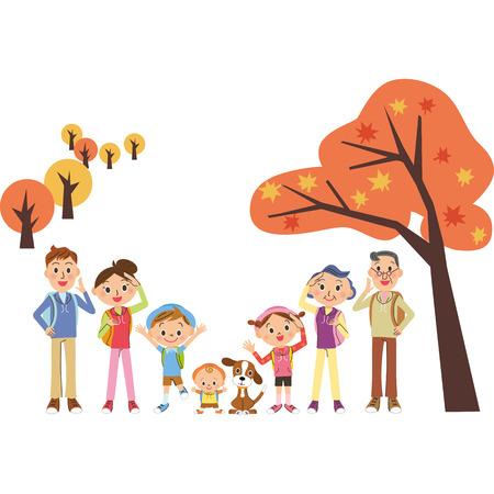 niño escalando: Holiday haciendo de otoño en la familia de tres generaciones Vectores