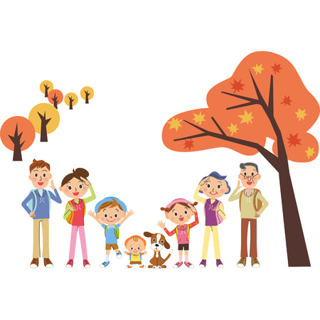 Vakantie maken herfst in familie drie generaties Stock Illustratie