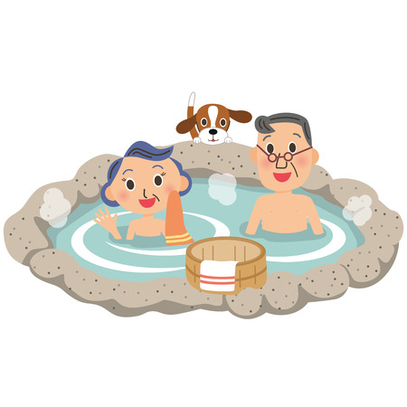hot couple: An old couple and hot spring Illustration