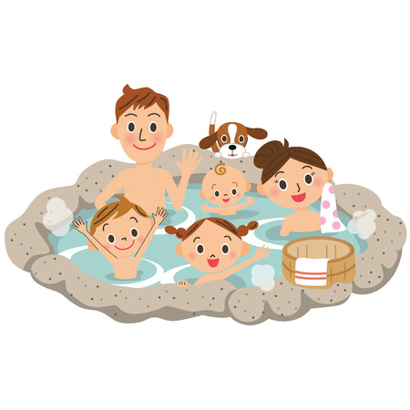 A family and hot spring