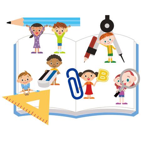 study tool and children Vettoriali
