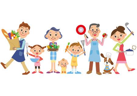 three-generation family who enjoys cooking 일러스트