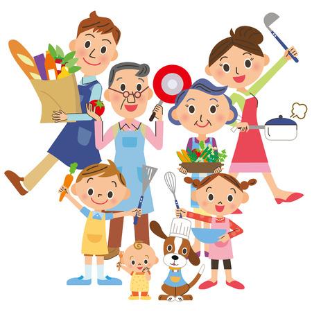 요리를 즐기는 세 세대 가족 일러스트