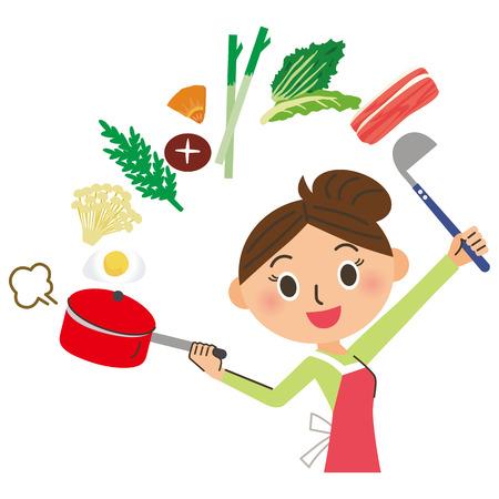 Mom who cooks  イラスト・ベクター素材
