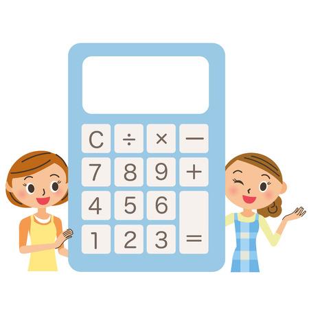 Housewife around an electronic calculator