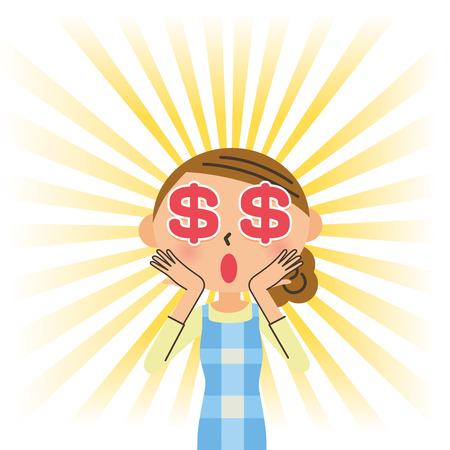 意外な主婦のお金の目  イラスト・ベクター素材