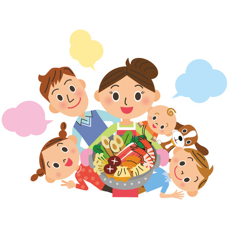 animal vector: Family around a pan Illustration