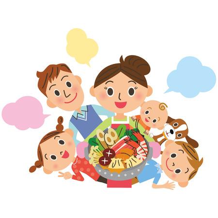Vector children: Gia đình xung quanh một chảo