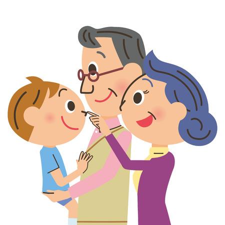 grandchild: Grandchild and grandfather, grandmother Illustration