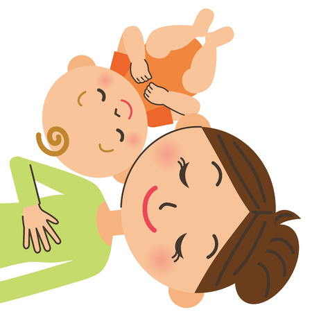 mother baby: Parent and child who sleep Illustration