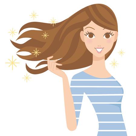 Beautiful woman of the hair Vettoriali