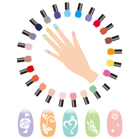 fingertip: hand which does manicure Illustration