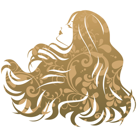 hair cut: Beauty treatment salon silhouette woman Illustration