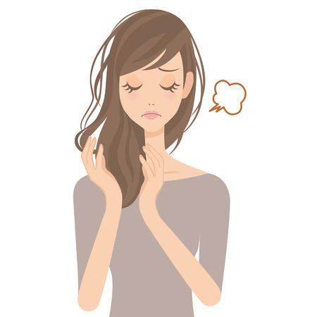 salon de belleza: Pelo vicioso formado durante el sueño de la mujer haciendo el cuidado del cabello