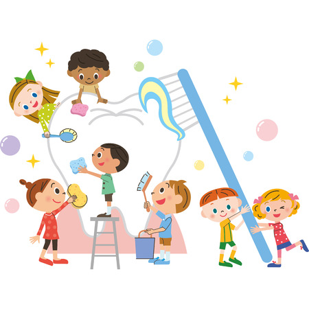 toothbrushing: child and toothbrushing Illustration