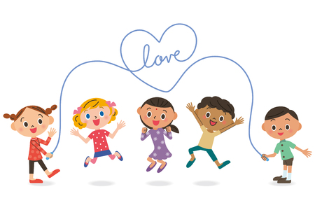 skipping rope: Children skipping rope Illustration