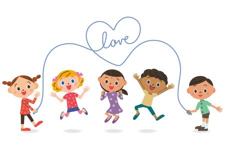 school meeting: Children skipping rope Illustration