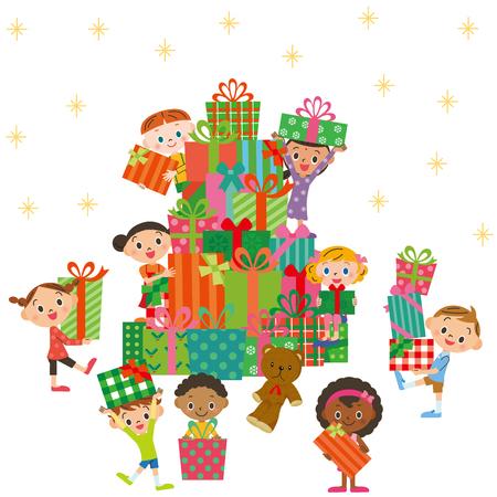 child smile: Christmas present and children Illustration