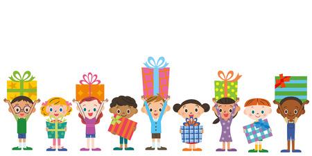 Children having a present