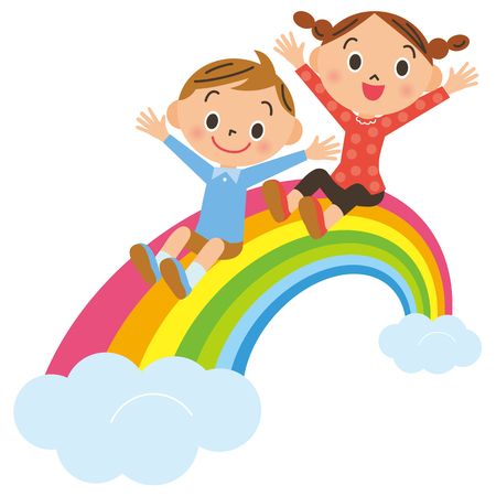 rainbow and child