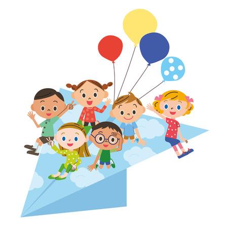 Papier vliegtuig en kinderen Stockfoto - 47948730
