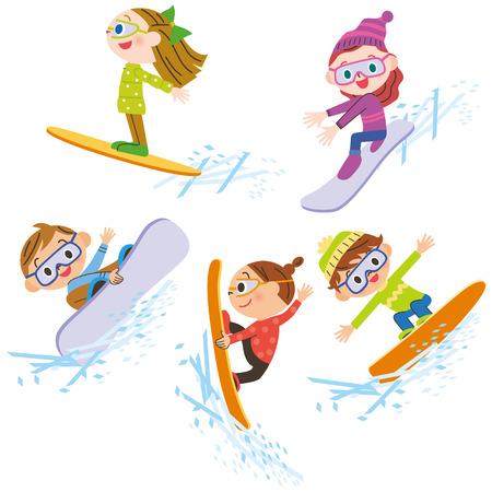 boarder: Snowboarding children