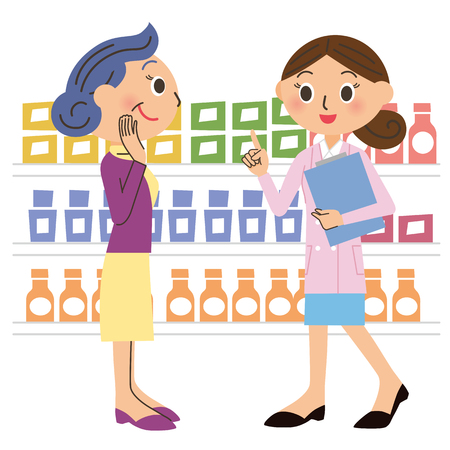 Consulting with a dietitian Grandma  イラスト・ベクター素材