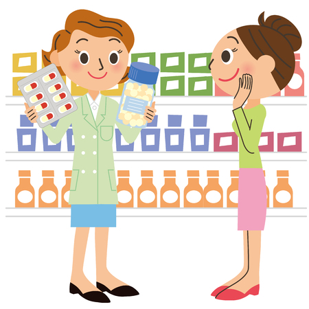 pharmacist and visitor Illustration